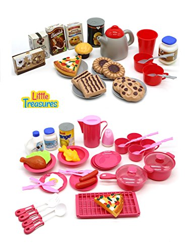 Childrens Toy Dishes - Little Treasures Mini Size Toy Dishes Food and Drinks, Meal with Desert Set Kitchen Playset for Kids Pretend Play Cooking/Serving Lunch Dinner or Snack Tea Time for Kids Ages 5 Plus (65 Pieces)