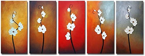 Wieco Art Large Modern Colorful Flowers Artwork 5 Piece 100 Hand Painted Framed Contemporary Abstract Floral Oil Painting on Canvas Wall Art Ready to Hang for Living Room Bedroom Home Decorations