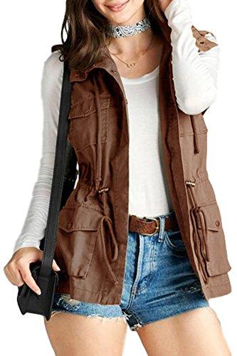 Women's Cotton Cargo Utility Vest (Medium, Taupe)
