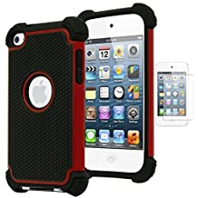 Bastex Hybrid Armor Case for Apple iPod Touch 4, 4th Generation - Red+BlackINCLUDES SCREEN PROTECTOR