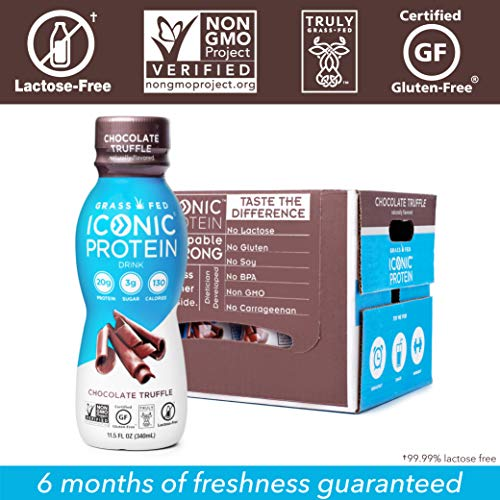 Iconic Protein Drinks, Chocolate Truffle (12 Pack) | Low Carb Protein Shakes | Grass Fed, Lactose Free, Gluten Free, Non-GMO, Kosher | High Protein Drink | Keto Friendly 4