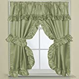 Sweet Home Collection Fabric Bathroom Window Curtain 70'' x 45'' Hotel Quality Treatment Set of Two Durable Panels with Pair of Tiebacks, Sage
