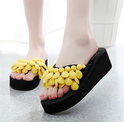 Creativa hecha a mano de playa de cuentas con zapatos de verano de las mujeres pendiente con espina de arenque de arrastrar y soltar único espeso zapatillas 10
