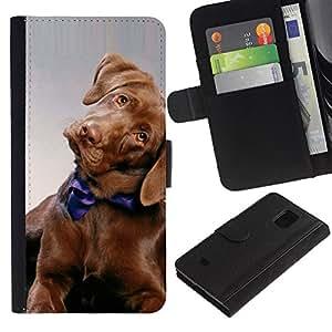 All Phone Most Case / Oferta Especial Cáscara Funda de cuero Monedero Cubierta de proteccion Caso / Wallet Case for Samsung Galaxy S5 Mini, SM-G800 // Golden Retriever Puppy Dog Canine