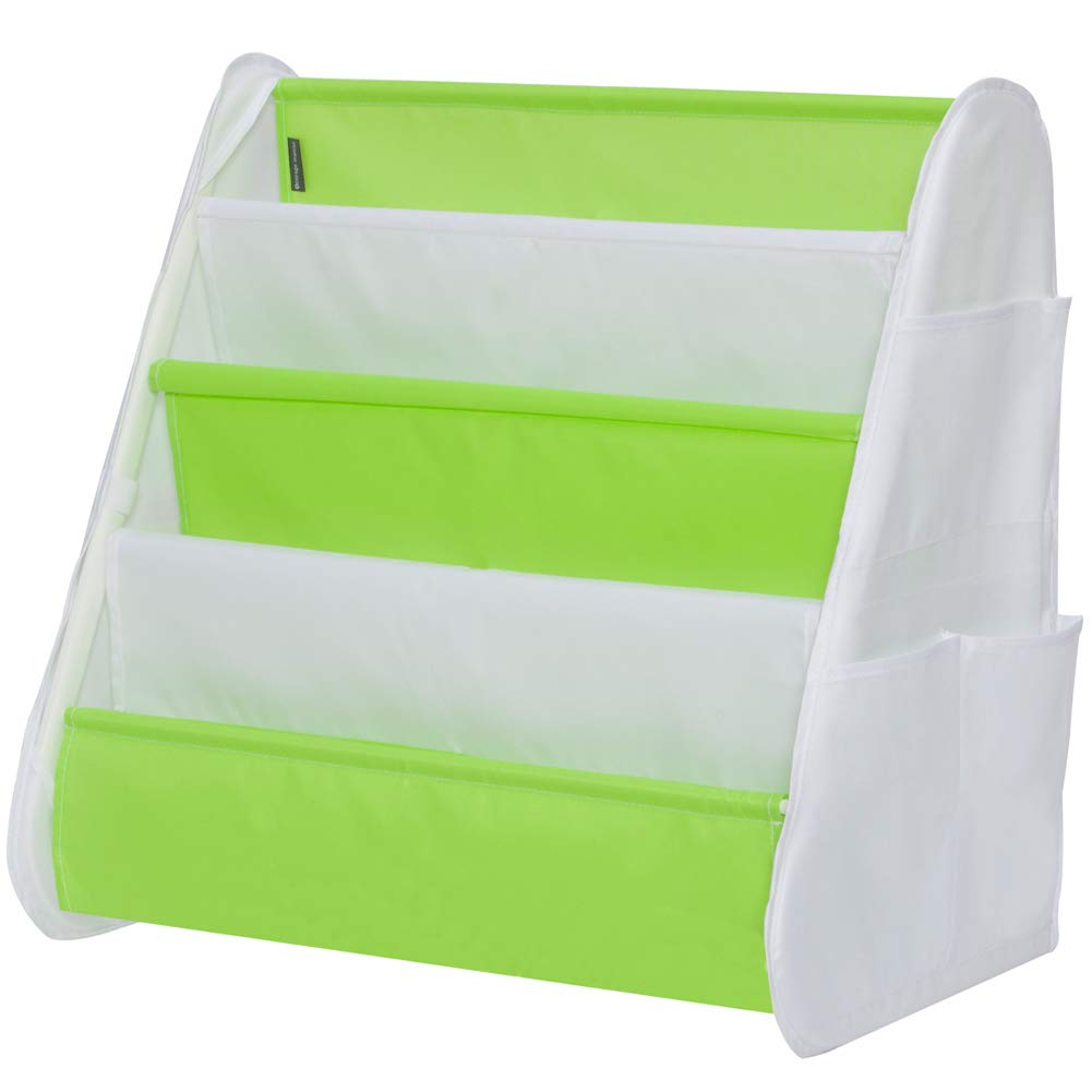 STORAGE MANIAC Mini Bookshelf, Steel Book Rack with Side Pocket, White & Green STM1309000014