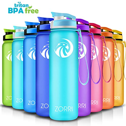 Sport Water Bottle 800ml/28-Ounce,Leak Proof BPA Free Eco-Friendly Plastic Drink Beverage Best Water Bottles for Travel/Hiking/Camping/Outdoor/Running/Gym Flip Top Lid & Filter Opens with 1-Click ... ()