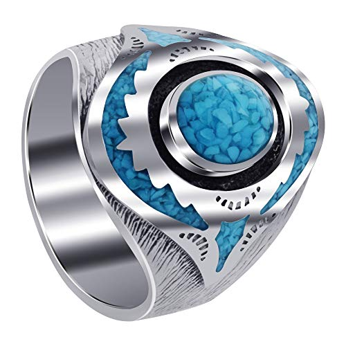 (Men's 925 Sterling Silver Turquoise Inlay Mosaic Design Ring Size)