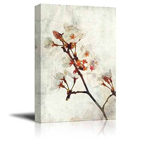 Watercolor Painting Style White Cherry Blossom on Branch