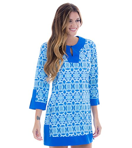Cabana Life Women's Three-Quarter Sleeve Tunic Dress - Road Map Print - ()