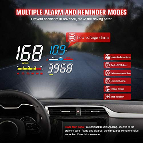 5.5/'/' Universal OBDII Car GPS HUD Head Up Display Overspeed Warning System CHW