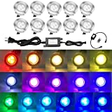 Outdoor Deck Lights Waterproof Multi Color RGB Stainless Steel Outdoor Decoration Lights for Yard Garden Recessed Wood Landscape Pathway Patio Step Stairs 10 Pack by QACA
