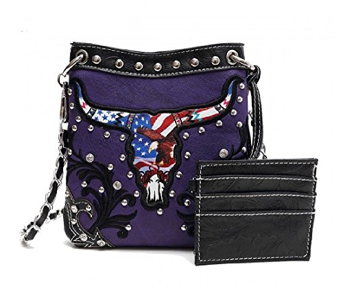 Chain Western Messenger Crossbody Purse Purple Long Strap with Petite and Back Pocket Longhorn rvtqwvp