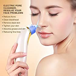 Electronic Blackhead Remover, Acne Vacuum Suction Facial Pore Cleanser Cleaner Comedone Extraction Tool for Personal Beauty Makeup Health by MintBear (Luxury Gold)