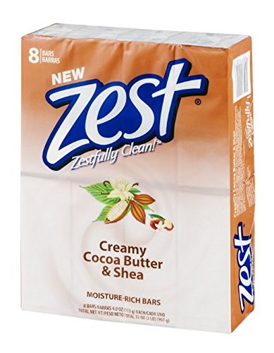 Zest 8-Bar Bath Size Soap, Creamy Cocoa Butter & Shea, 4 Ounce (Pack of 2)