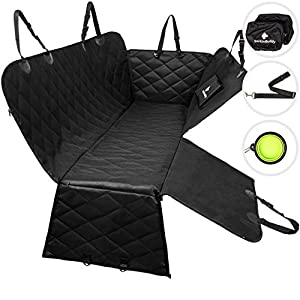 BarkinBuddy Back Seat Cover for Dogs - Car Dog Hammock for Back Seat - Full Doors Protection - Backseat Dog Cover for Car, SUV, Truck with 2 Headrest Covers, Collapsible Bowl, Dog Seat Belt 8