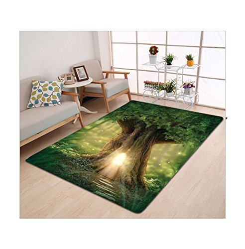 Kisscase Custom carpet Mystic Fairy Tree of Life Enchanted Forest Mystical Lights Digital Printed Wall Decor Green Yellow Brown