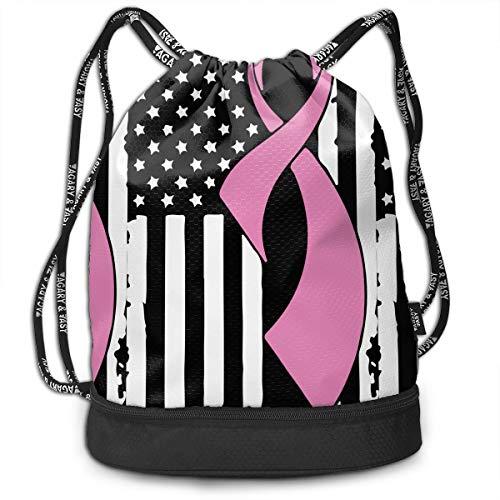 Breast Cancer Awareness Flag-1 Drawstring Bag Multifunctional String Backpack Custom Cinch Backpack Sport Gym Sack