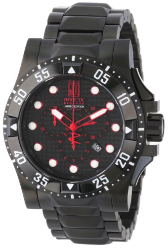 (Invicta Men's 14452 Jason Taylor Reserve Chronograph Black Carbon Fiber Dial Black Ion-Plated Stainless Steel Watch)