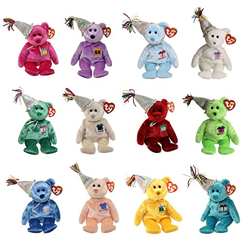 TY Beanie Babies - BIRTHDAY Bears with Hats (Set of 12 Months)(9.5 inch)