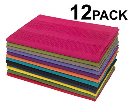 Multicolor Kitchen Towels 16x28 Inches- Pure Cotton, Absorbent Waffle Weave ()