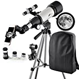 Solomark 70mm Apeture 400mm Az Mount Telescope - Good Partner to View Moon and Planet - Travel Scope with Backpack - Good Telescope for Kids