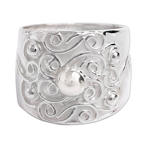 NOVICA .925 Sterling Silver Handcrafted Wide Band Ring, Arabesque Vines'