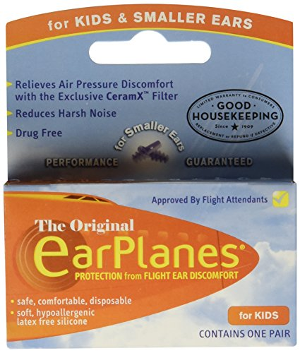 Earplanes Childrens Ear Plugs Disposable For Flight Sound Noise And Air Protection, 1 Pair
