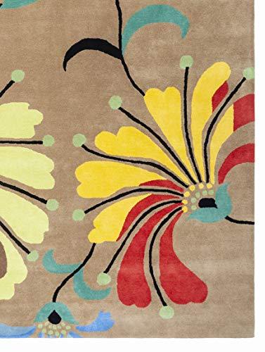Metro Flower Hand-Tufted Beige Area Rug Wool Rug 5 x 7 ()