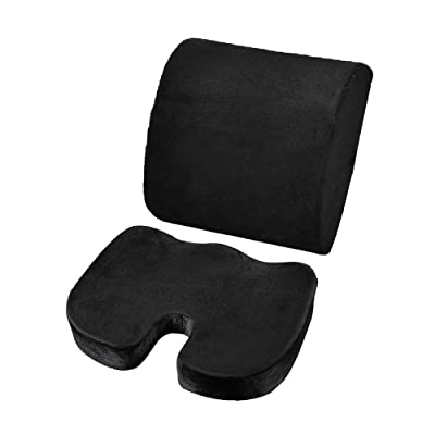 QIEZI 2Pcs / Set Memory Foam Cushion Support Waist Cushion Set for Home Office Health Care Cushion-Black: Home & Kitchen