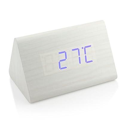 GEARONIC TM Triángulo Moderno Madera LED de Madera Reloj Despertador Digital Reloj de Escritorio Classic Termómetro