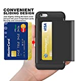SAMONPOW 46case-ch IPhone 6S Hybrid Wallet Case Card Holder Shell Heavy Duty Protection Defender Shockproof Anti-Scratch Soft Rubber Bumper - Black