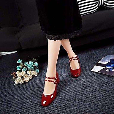 LvYuan-GGX Damen-High Heels-Büro Lässig-PU-Niedriger Absatz Blockabsatz Ferse-Komfort Block Ferse-Komfort Blockabsatz Mary Jane-Schwarz Rot, Ruby, us7.5 / eu38 / uk5.5 / cn38 - e538a5