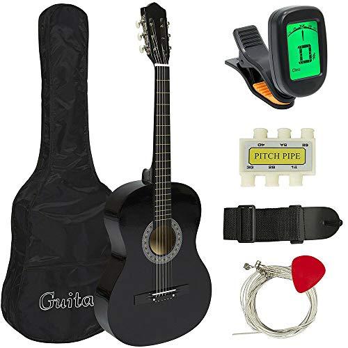 38'' in Beginner Acoustic Guitar BUBDLE KIT W/CASE Strap Digital E-Tuner Pick PI