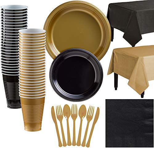 Party City Gold and Black Plastic Tableware Kit for 50 Guests, 537 Pieces, Includes Plates, Napkins, and Table -