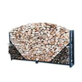 Cheap ShelterIt Straight Firewood Log Rack with Kindling Wood Holder and Waterproof Cover, 8′, Black