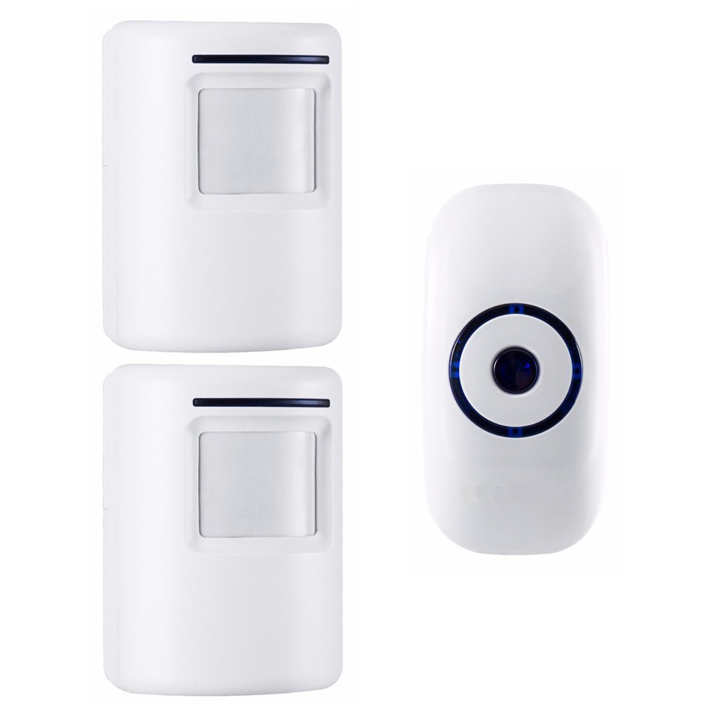 Home Security Motion Sensor Alarm Outdoor, Wireless Driveway Alert: Infrared Motion Sensor Chime Doorbell with 1 Plug-in Receiver and 2 PIR Motion Sensor Detector Alert - 36 Chime Tune