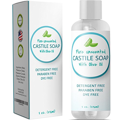 (100% Pure Castile Soap Unscented Liquid Mild Soap for Body or Home Use with Olive Oil and Glycerin Nourishing Natural Skin Care Vegan Friendly All Purpose Cleaner Detergent Free & SLS Free Daily Soap)