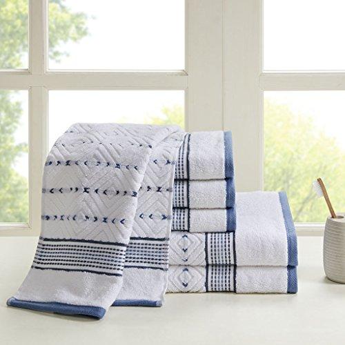 Yarn Dyed Towel Sets - Madison Park Mikka 6 Piece 100% Cotton Yarn Dyed Towel Set Aqua See Below