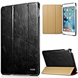 iPad Mini 4 Case Vintage Series Genuine Leather Flip Cover Folio Case Slim Leather Case Stand Function Smart Cover with Auto Wake/ Sleep Function for Apple iPad Mini 4 (Black)