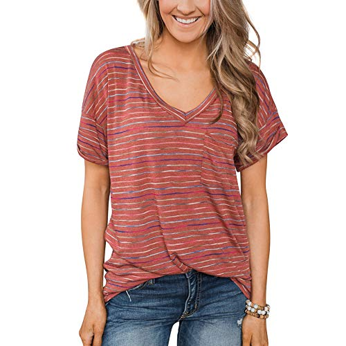 Womens Red V Neck Short Sleeve Casual Drawstring Side Striped Shirts Tops