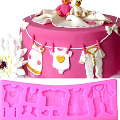 (Yunko Baby Shower Clothes Hanger Cake Decorating Fondant Silicone Mold Chocolate Candy Cupcake Mold)