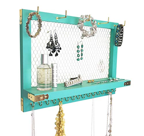 Large Teal Turquoise Blue Farmhouse Vintage Wall Mounted Hanging Jewelry Organizer, Perfect Holder for Earrings Necklaces Bracelets-Gold Chicken Wire, Present for Women, Wife, Mom, ()