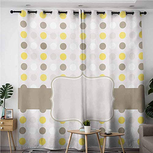 AndyTours Waterproof Window Curtains,Grey and Yellow,Abstract 60s 50s Inspired Home Design Polka Dots Image,Blackout Window Curtain 2 Panel,W84x108L,Pale Brown Marigold and White