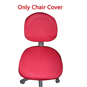 Trycooling Polyester Spandex Universal Stretch Rotating Pure Color Chair Cover for Computer Office Desk (Red)