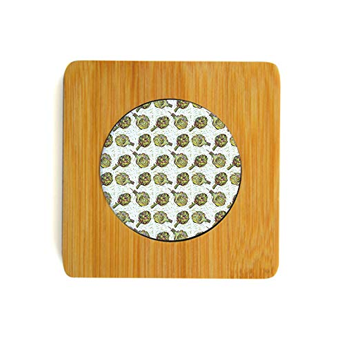 Coaster Set Bamboo Wood   Includes 2 Square Coasters Gourmet Food Garden Harvest Vegetables Seasonal Vegetarian Options Decorative Use for Drinks, Beverages, Beer, Coffee!Fern Green and Purple from SfeatrutMAT