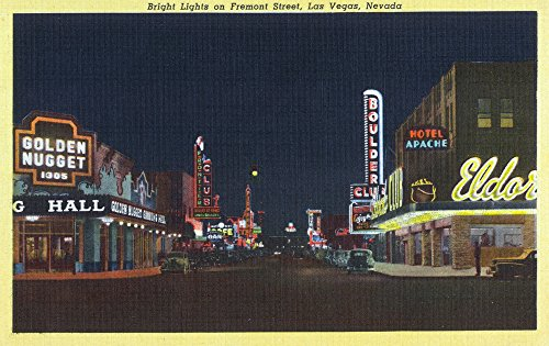 Las Vegas, Nevada - Fremont Street Scene at Night (12x18 Art Print, Wall Decor Travel Poster)