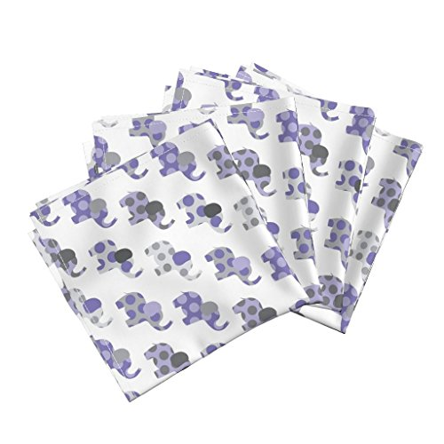 Roostery Elephants Organic Sateen Dinner Napkins Ellie's Elephant Friends in Purple and Gray by Littlebdesigns Set of 4 Cotton Dinner Napkins Made