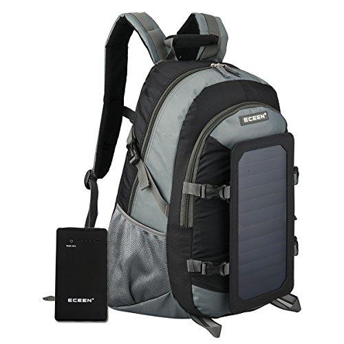 eceen 7Watt Solar Rucksack, Solarpanel Tasche, Nylon Materialien, mit 10.000mAh Power Akku Pack Charge für Smart Handys, Tablets, GPS, eReader, Lautsprecher, GoPro Kameras und mehr schwarz schwarz