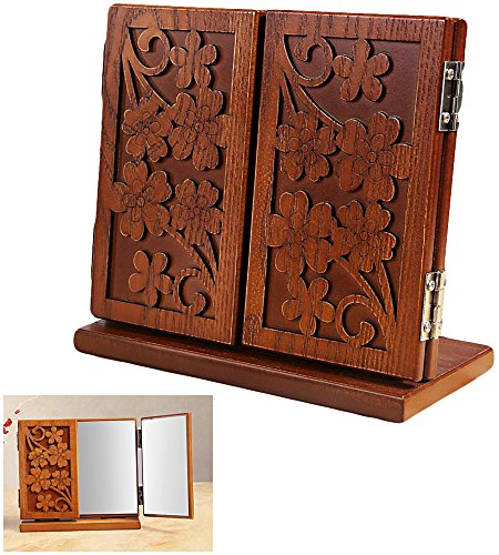 HOYOFO Tri-fold Countertop Mirror Carved Wooden Vanity Table Mirror for Make Up Carved Wooden Vanity