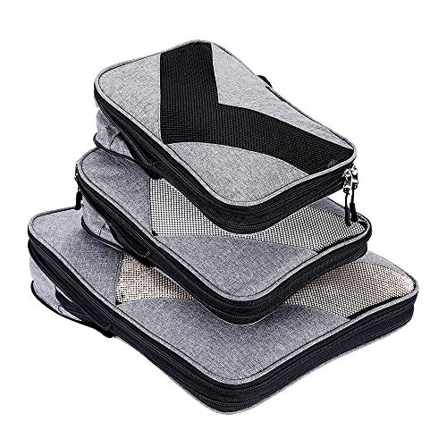 Compression Packing Cubes Travel Luggage Suitcase Organizer 3 Set (grey, One_Size)